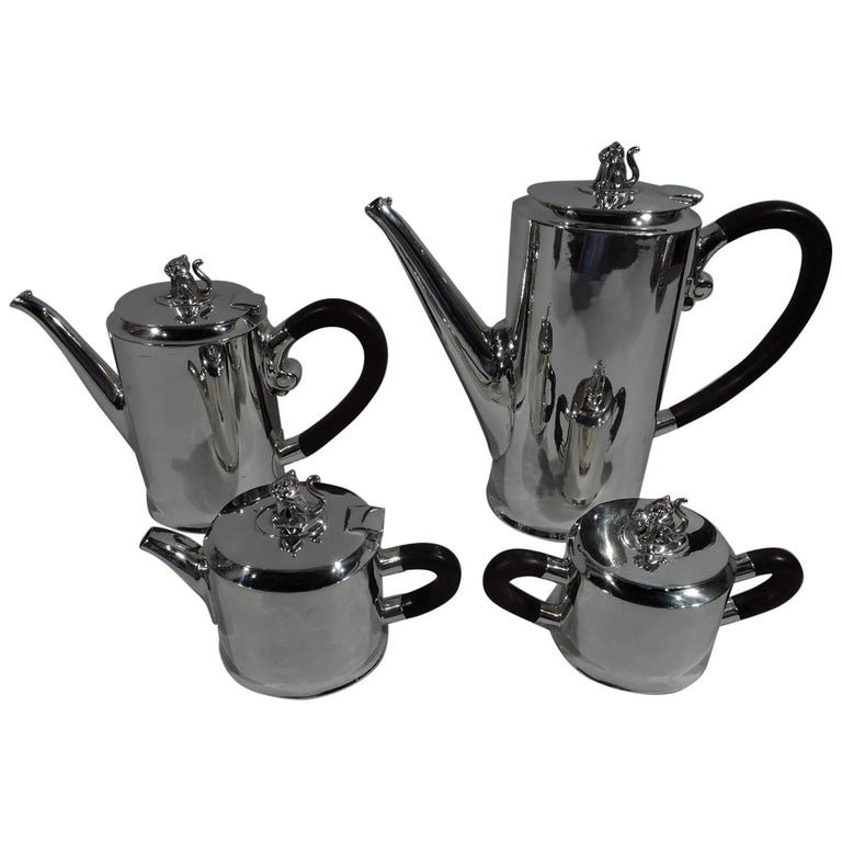 Spratling Sterling Silver Coffee and Tea Set with Jaguar Finials For Sale