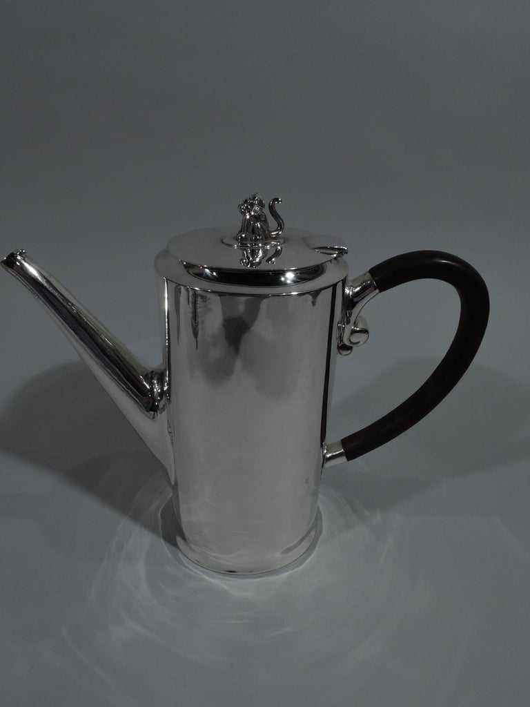 Modern Spratling Sterling Silver Coffee and Tea Set with Jaguar Finials For Sale