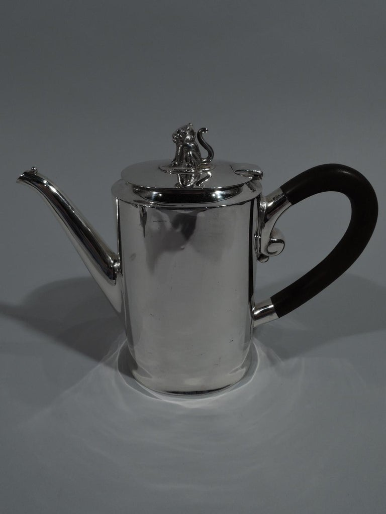 Spratling Sterling Silver Coffee and Tea Set with Jaguar Finials For Sale 2