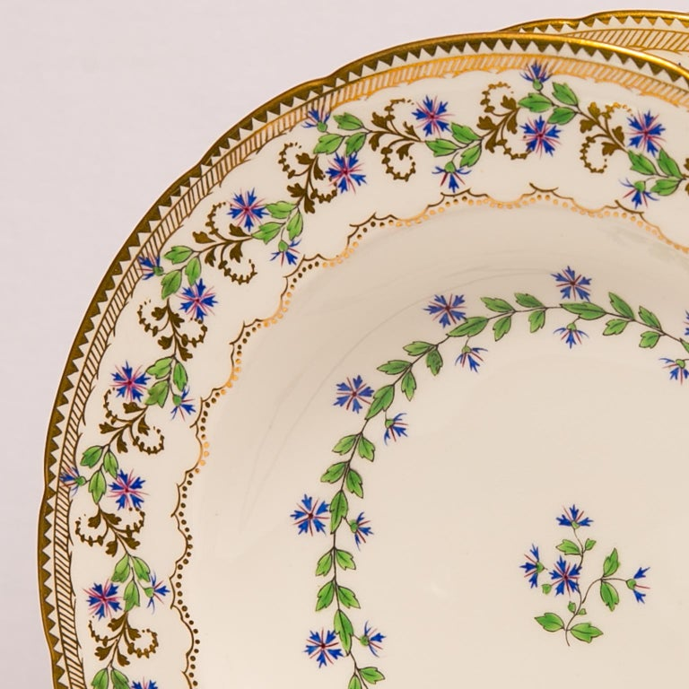 Louis XIV Sprig Decorated Set of Large Soup Dishes Made in England circa 1880 For Sale