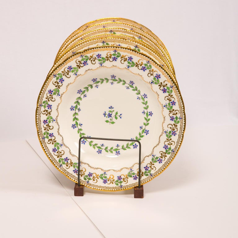 Hand-Painted Sprig Decorated Set of Large Soup Dishes Made in England circa 1880 For Sale