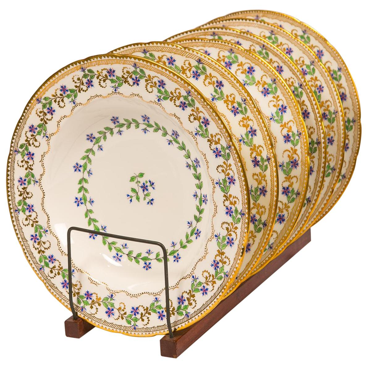 Sprig Decorated Set of Large Soup Dishes Made in England circa 1880