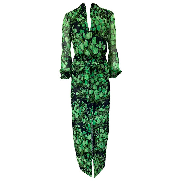 Spring 1972 Pauline Trigere Cotton Silk Voile Green Tulip Print Skirt & Top Set For Sale