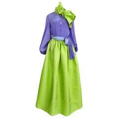 Spring 1978 Bill Blass Green Silk Taffata Skirt & Purple Silk Top Dress Set