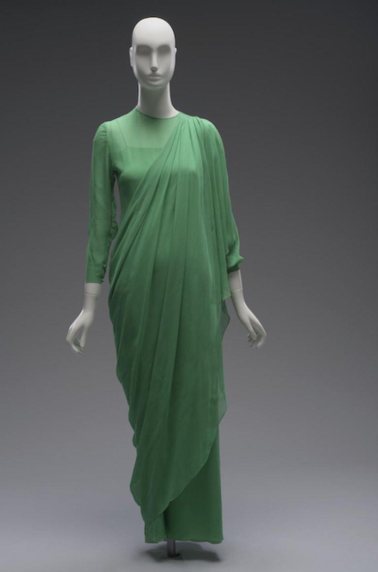 Spring 1981 Bill Blass Stunning Pale Green Silk Chiffon Ruffle Dress For Sale 8