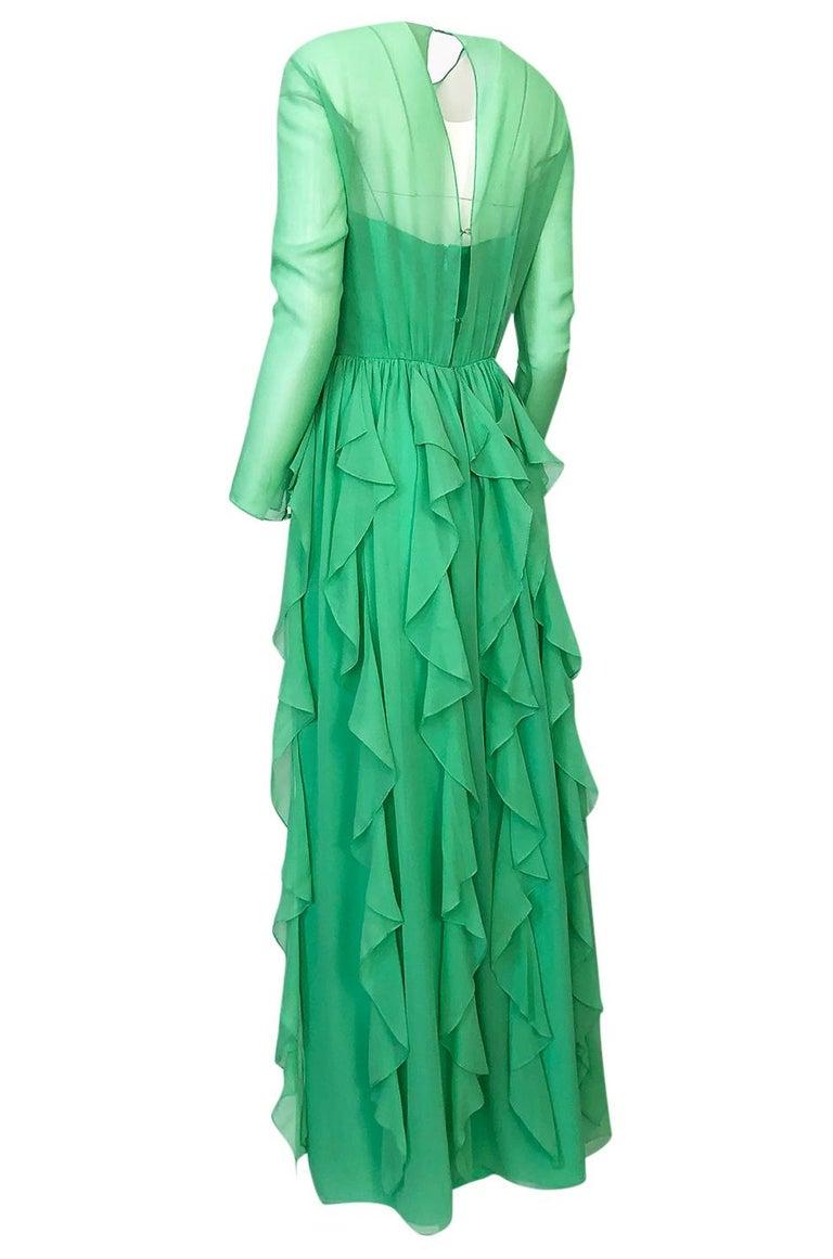 Spring 1981 Bill Blass Stunning Pale Green Silk Chiffon Ruffle Dress For Sale 1