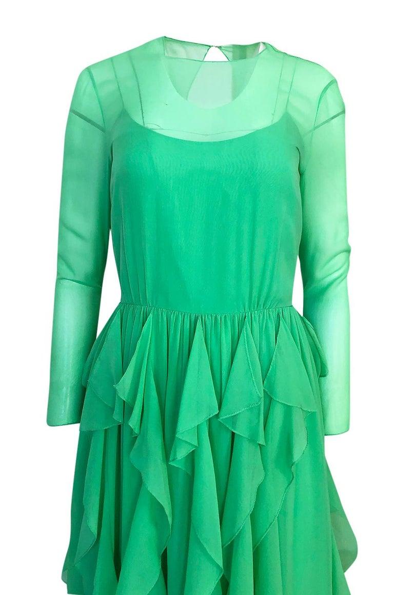 Spring 1981 Bill Blass Stunning Pale Green Silk Chiffon Ruffle Dress For Sale 2