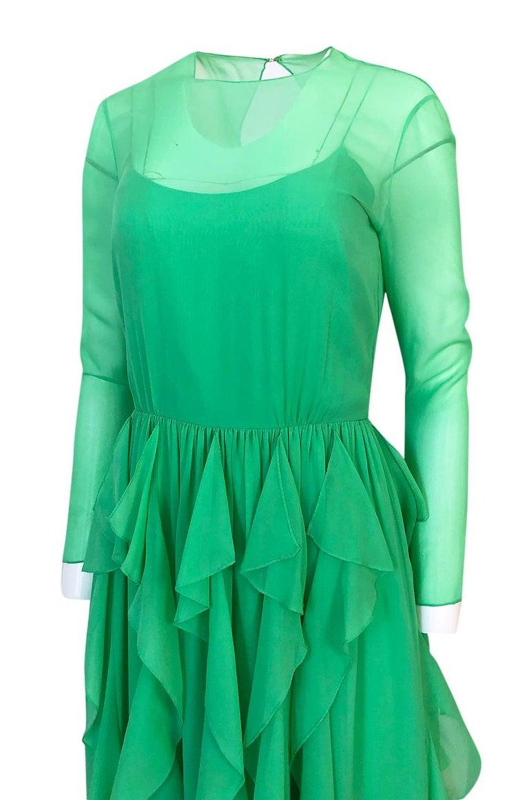 Spring 1981 Bill Blass Stunning Pale Green Silk Chiffon Ruffle Dress For Sale 4