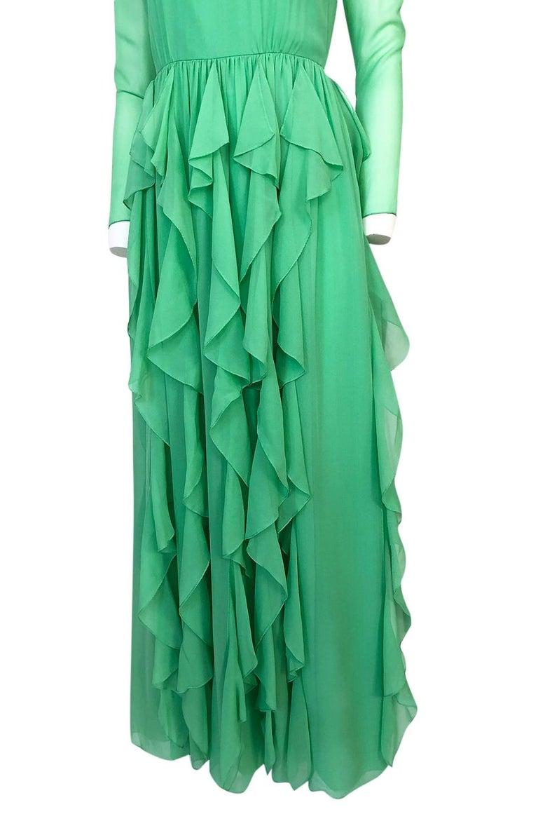 Spring 1981 Bill Blass Stunning Pale Green Silk Chiffon Ruffle Dress For Sale 5