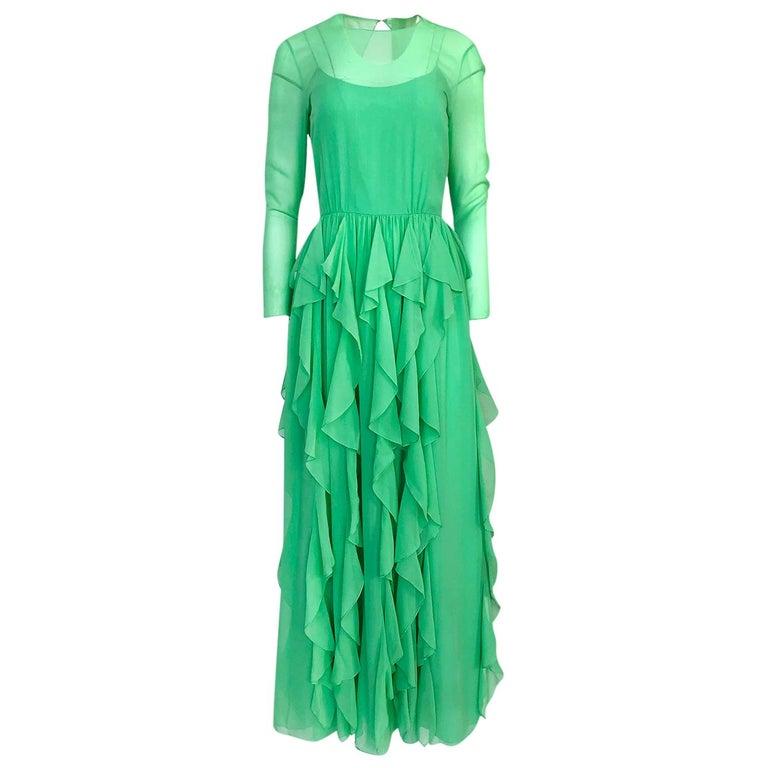 Spring 1981 Bill Blass Stunning Pale Green Silk Chiffon Ruffle Dress For Sale