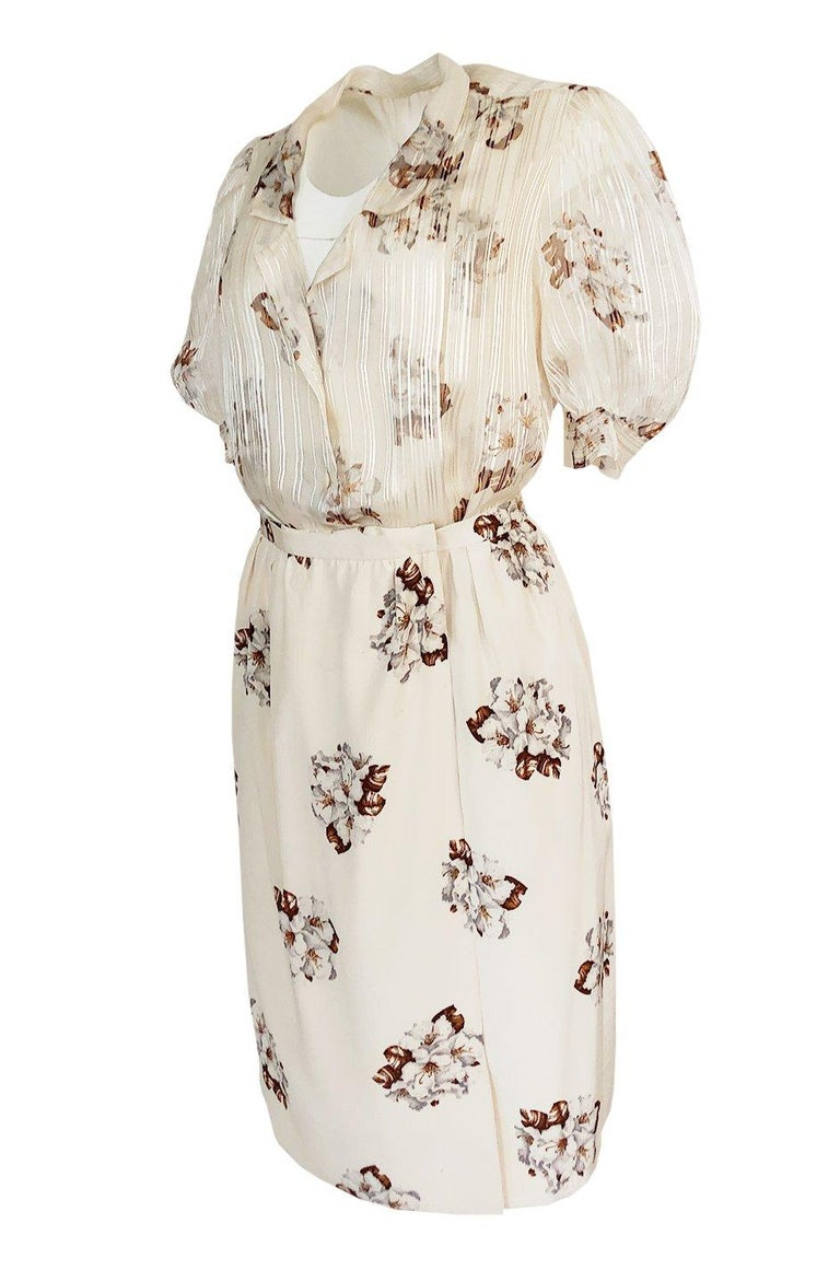 Spring 1981 Christian Dior by Marc Bohan Haute Couture Silk Top & Skirt Set In Good Condition For Sale In Rockwood, ON