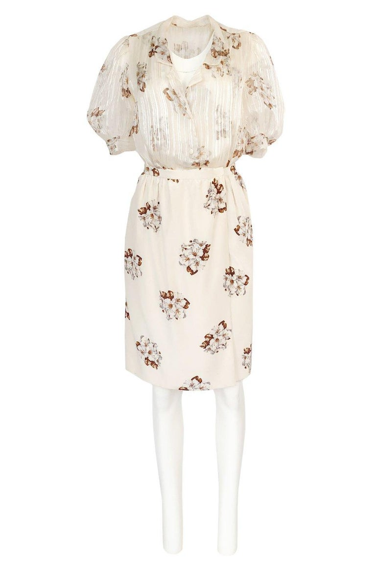 Women's Spring 1981 Christian Dior by Marc Bohan Haute Couture Silk Top & Skirt Set For Sale