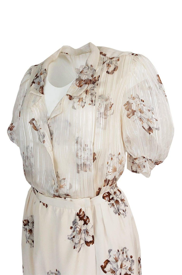 Spring 1981 Christian Dior by Marc Bohan Haute Couture Silk Top & Skirt Set For Sale 1