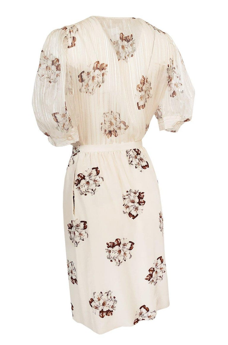 Spring 1981 Christian Dior by Marc Bohan Haute Couture Silk Top & Skirt Set For Sale 2