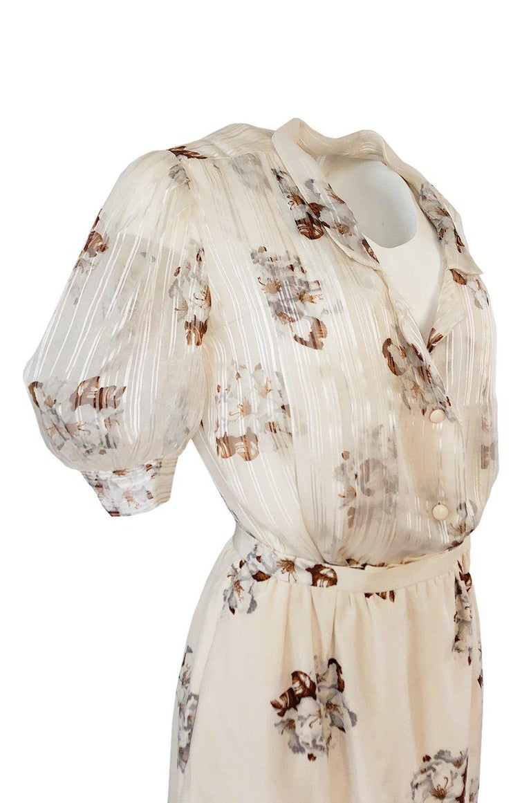 Spring 1981 Christian Dior by Marc Bohan Haute Couture Silk Top & Skirt Set For Sale 4