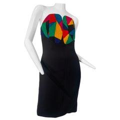 Spring 1988 Geoffrey Beene Multi-Colored Boned Bodice Silk Dress Size 6