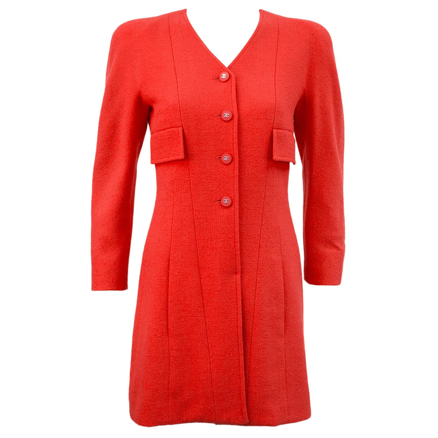 Spring 1996 Chanel Coral Wool Day Dress