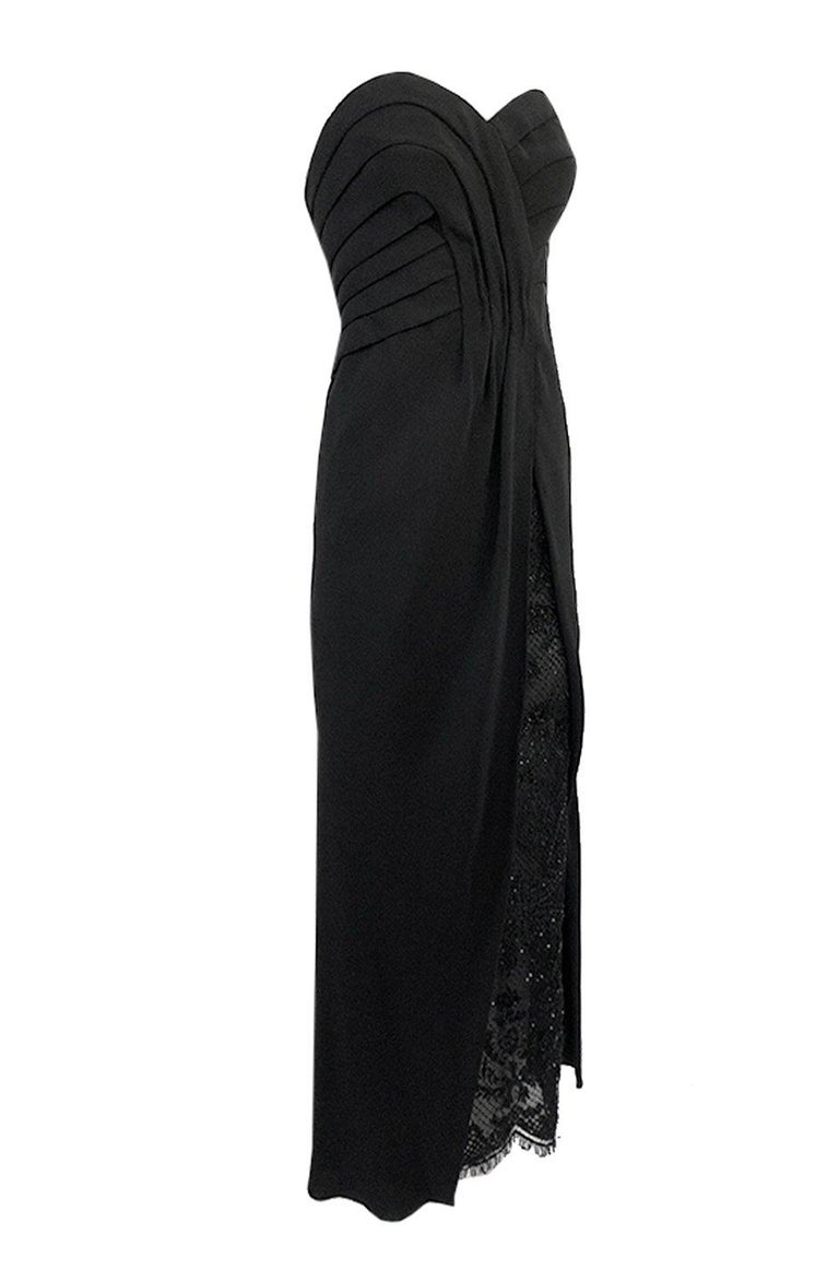 Black Spring 1998 Valentino Haute Couture Strapless Dress w Beaded & Sequin Inner Skir For Sale