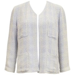 Spring 1999 Chanel Beige and Blue Open Front Tweed Jacket