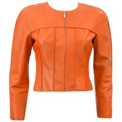 Spring 1999 Chanel Orange Cropped Leather Jacket