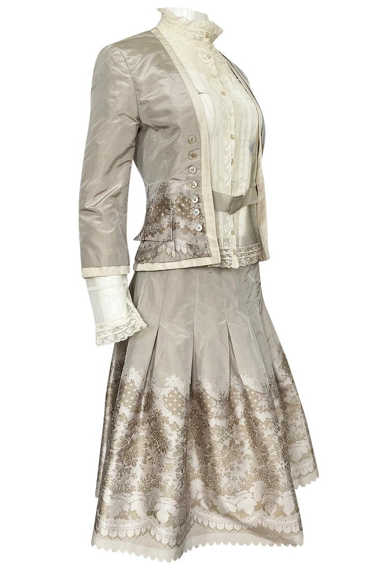 Gray Spring 2005 Alexander McQueen 'It's Only a Game' Runway Skirt & Jacket Set For Sale
