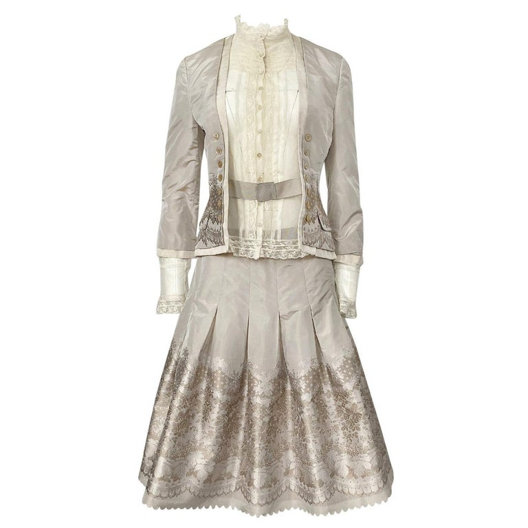 Spring 2005 Alexander McQueen 'It's Only a Game' Runway Skirt & Jacket Set For Sale