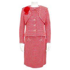 Spring 2008 Chanel Red and White Tweed Skirt Suit