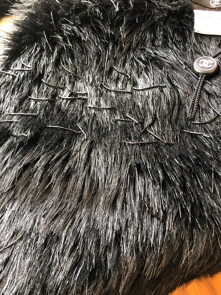 Spring 2010 Chanel Black Faux Fur Vest with Beading 34Fr Never Worn  For Sale 6