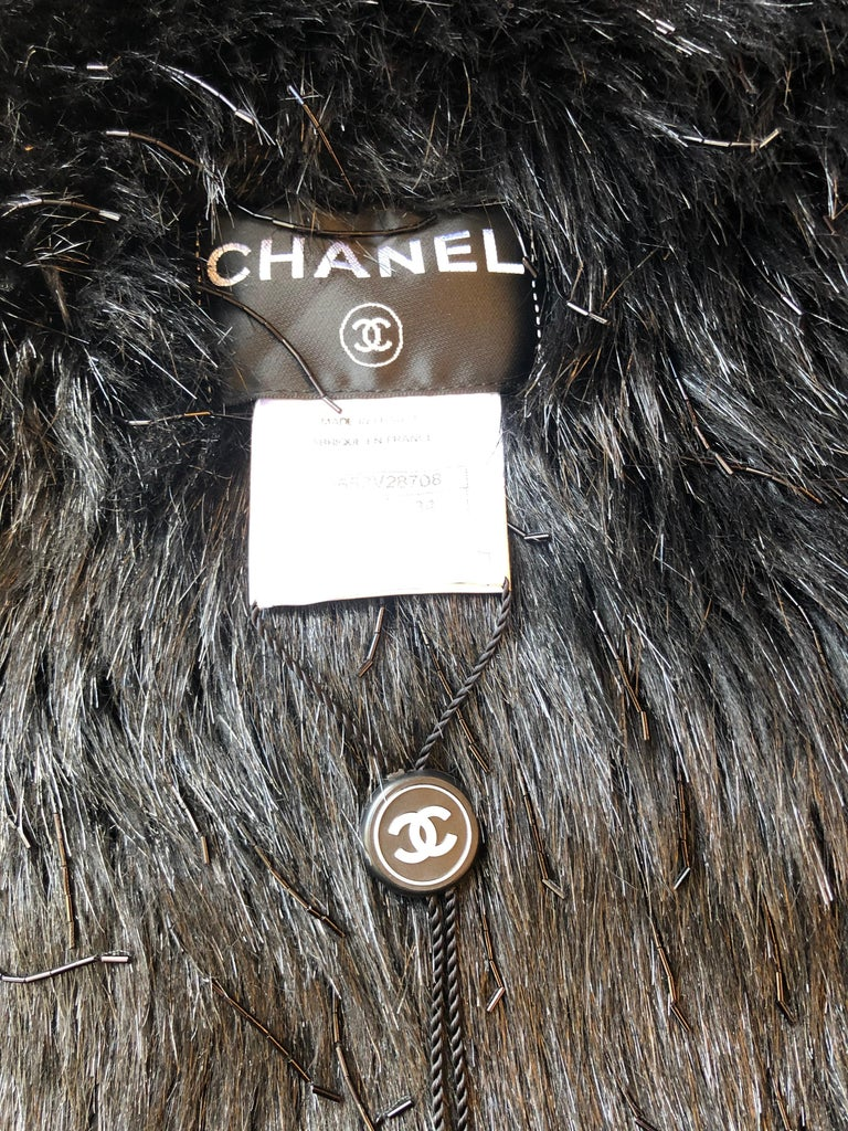 Women's Spring 2010 Chanel Black Faux Fur Vest with Beading 34Fr Never Worn  For Sale