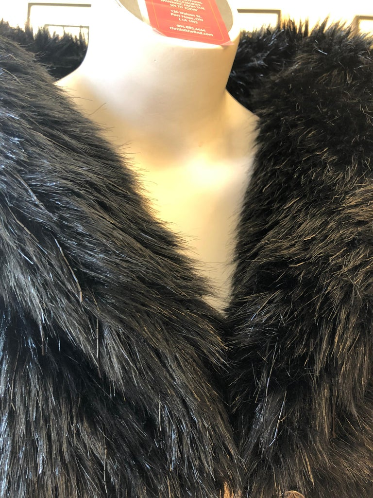 Spring 2010 Chanel Black Faux Fur Vest with Beading 34Fr Never Worn  For Sale 3