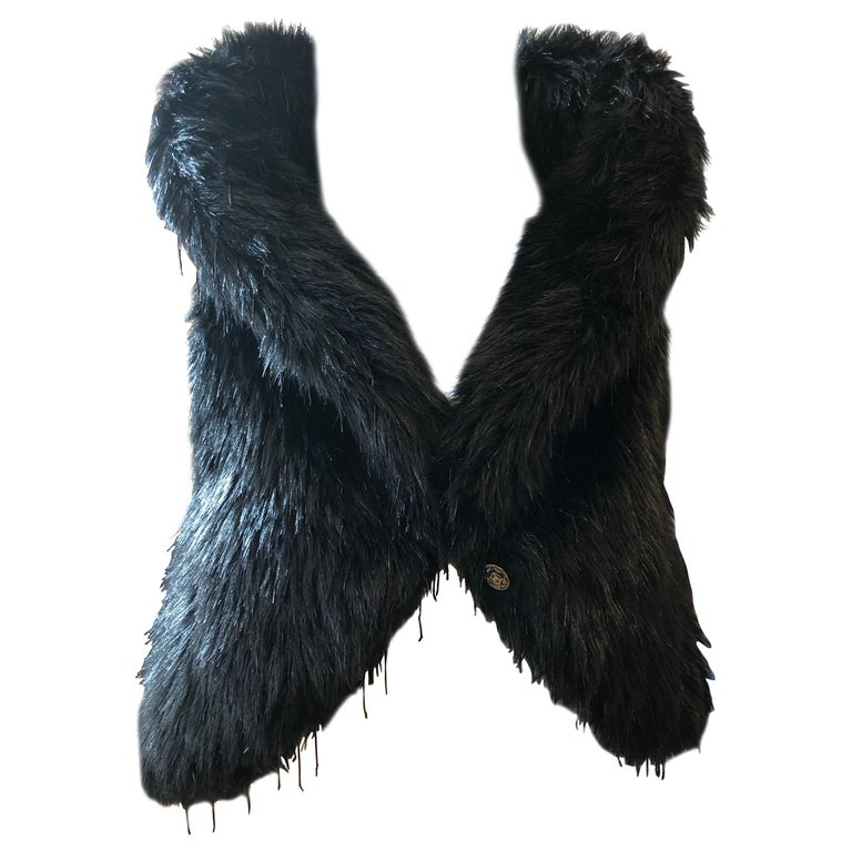 Spring 2010 Chanel Black Faux Fur Vest with Beading 34Fr Never Worn  For Sale