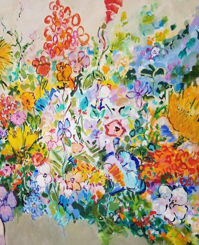Offered for sale is an iconic artwork by Eva Hannah who's influences are predominantly impressionism. (Monet, Matisse, Dufy and Picasso are her favorites). Her colors are vibrant and original and the poetic language she uses on her works is a