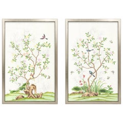 Spring Garden Hand Painted Chinoiserie Diptych
