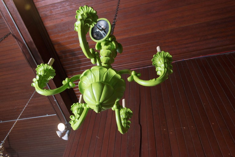 Hollywood Regency Spring Green Foliate Chandelier For Sale