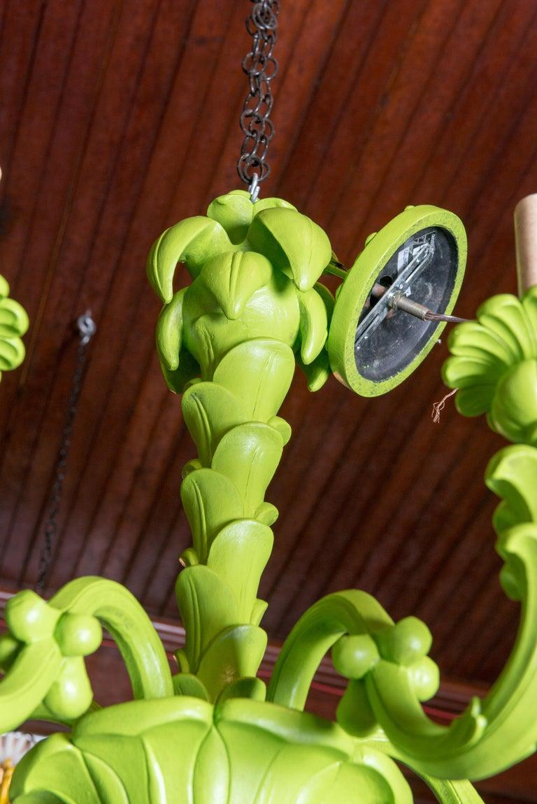 Unknown Spring Green Foliate Chandelier For Sale
