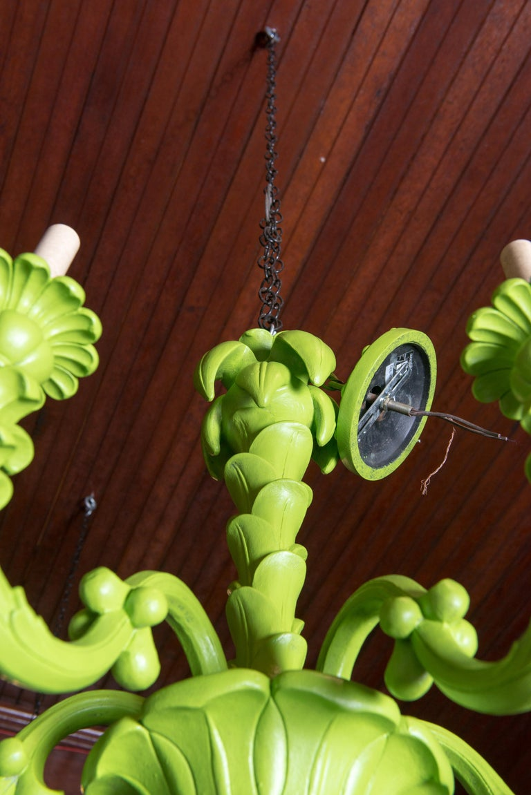 Spring Green Foliate Chandelier In Good Condition For Sale In Stamford, CT