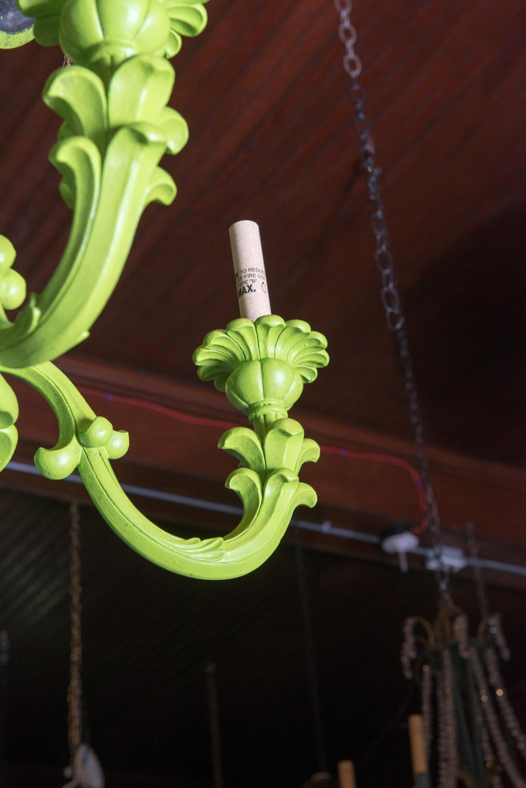 Composition Spring Green Foliate Chandelier For Sale