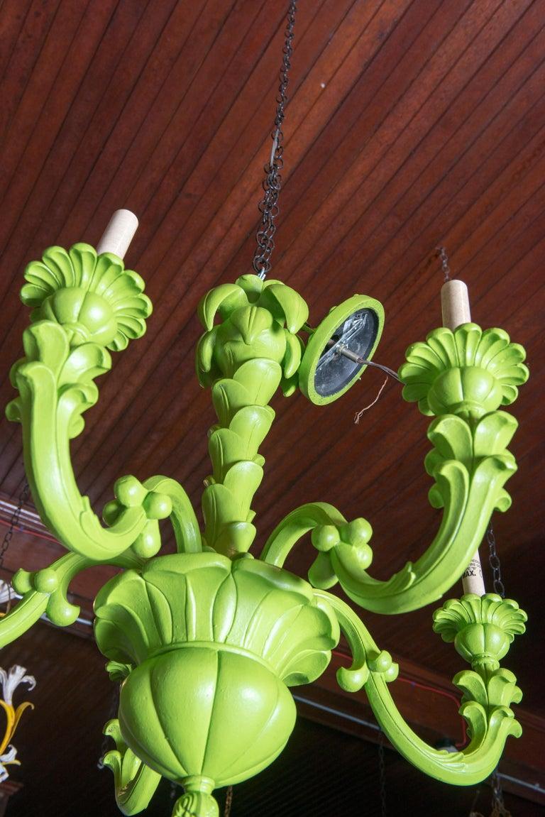 Spring Green Foliate Chandelier For Sale 1