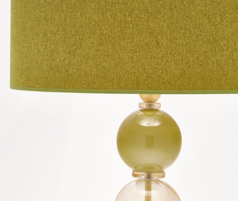 Mid-Century Modern Spring Green Murano Glass Lamps For Sale