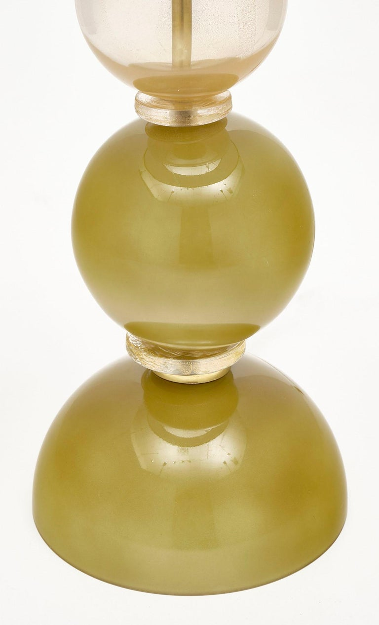 Spring Green Murano Glass Lamps In Good Condition For Sale In Austin, TX