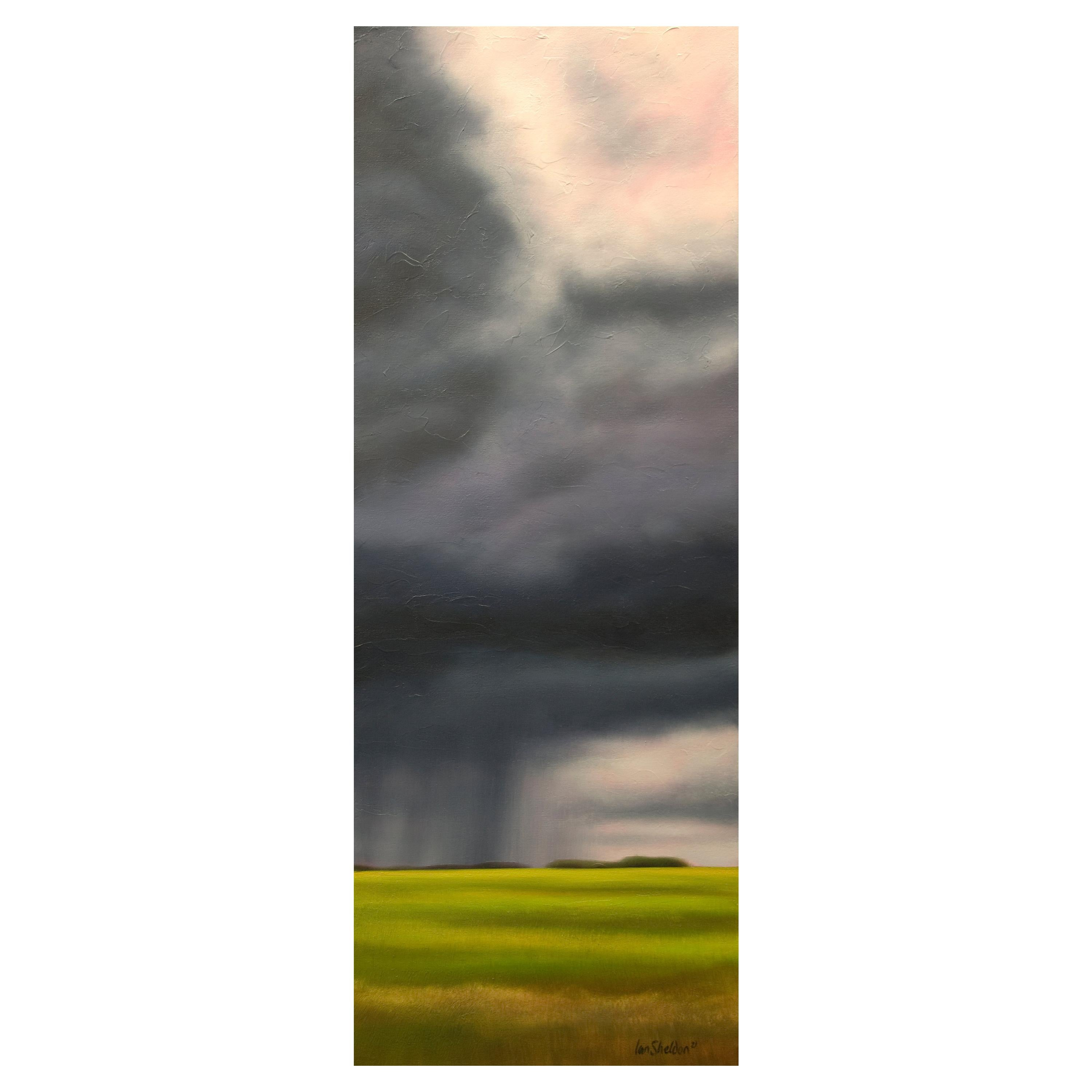 """""""Spring Greens"""" Green, Blue, Oil on Canvas Storm Landscape by Ian Sheldon New"""