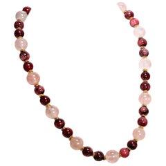 Gemjunky Necklace of Polished Rhodonite and Rose Quartz