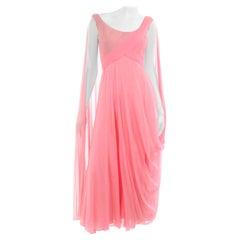 Spring Pink Vintage Draped Silk Chiffon Sleeveless Evening Dress