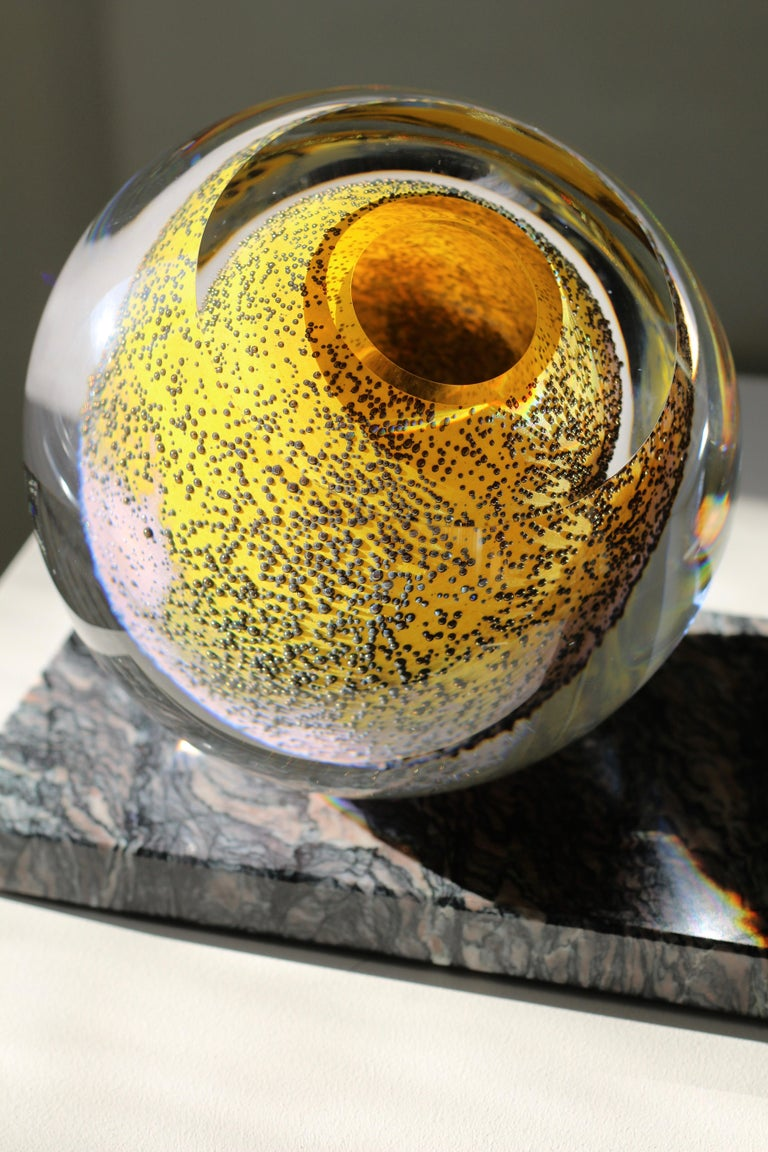 'Spring Poetry' large sculptural vase in mouth blown glass in bright yellow, plum and dawn pink.  Cipollino Ondulato marble Handcrafted in top quality, extra clear glass Unique item, signed  For striking flower arrangements large glass sphere