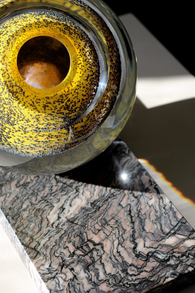 Contemporary 'Spring Poetry' Large Vase in Mouth Blown Glass and Marble by Experimental, 2020 For Sale
