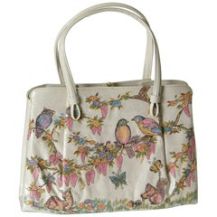 Spring Theme Handbag by Soure' with Woodland Animals Print Fabric on Front Panel