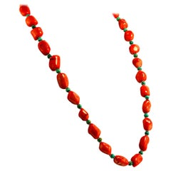 Springtime Peach Coral and Turquoise Necklace