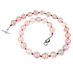 Gemjunky Springtime Pink Rose Quartz and Pink Opal Necklace