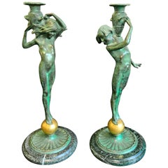 """Sprites with Amphorae,"" Rare Pair of Art Deco Bronze Candlesticks with Nudes"