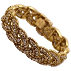 Spritzer and Fuhrmann Braided Gold Design Bracelet with Diamonds
